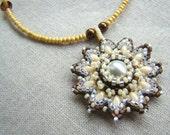 Beadwork Pearl Snowflake Medallion Pendant Necklace // Beaded Necklace // Seed Beads & Swarovski Crystal // White Ivory Copper Cream Mandala