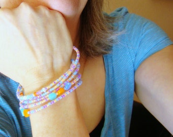Neon Pastel Candy Coil Bracelet, Beaded Wrap Bracelet, Glass Disks Seed Beads on Memory Wire, Stacked Coil Pink Mint Blue Orange