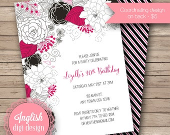 Printable Floral Birthday Party Invitation, Floral Birthday Party Invite, Floral Party Invite - Modern Bold Floral in Black & Magenta