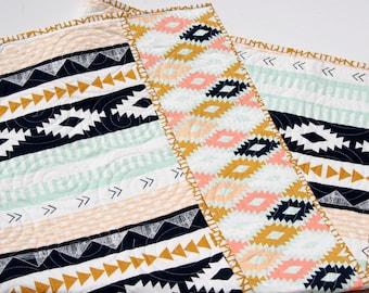 Tribal Baby Quilt, Modern Girl Bedding, Aztec Crib Cot Nursery, Southwest Arizona Art Gallery Toddler, Coral Mint Green Navy, Girl Blanket