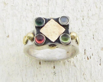Gemstones Silver Ring - Silver & 14k solid Gold Ring - Tourmalines, Garnet and Moonatone Rind - OOAK Ring
