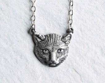 Cat Lady Necklace ... Vintage Cat Pendant Silver