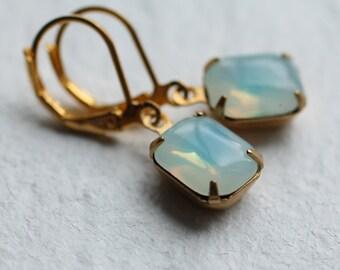 Turquoise Opal Earrings ... Cloudy Vintage Aqua Blue Jewels