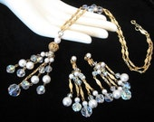 Vintage Sautoir Tassel Necklace Chandelier Earrings Set w/ Ab Crystal, Faux Pearl, Rhinestone
