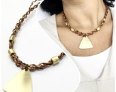 gold pendant triangle leather necklace casual classic brown leather necklace gold geometric pendant leather jewelry gold jewelry boho chic