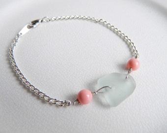 Seafoam Green Sea Glass Bracelet, Swarovski Pearls, Coral Beads, Mint and Pink, Chain Bracelet