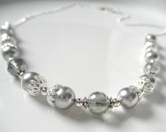Silvery Gray Swarovski Pearl Bridal Necklace or Bracelet - Silver and Gray Necklace, Mother of the Bride - Wedding Jewelry - Pearl Necklace
