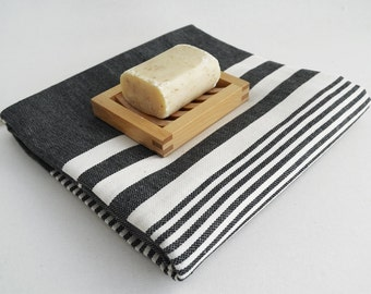 SALE 50 OFF/ Turkish Beach Bath Towel / Classic Peshtemal / Black / Wedding Gift, Spa, Swim, Pool Towels and Pareo