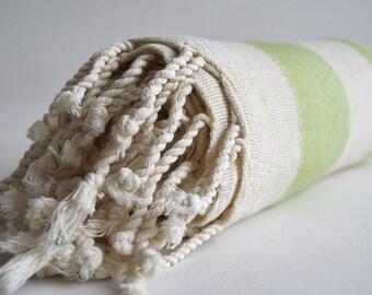 SALE 50 OFF/ Turkish Beach Bath Towel / Linen - Cotton / Green / Wedding Gift, Spa, Swim, Pool Towels and Pareo