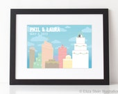 Personalized Wedding Poster, Guest Book Alternative, 8x12, City Skyline, Cityscape, Anniversary Gift