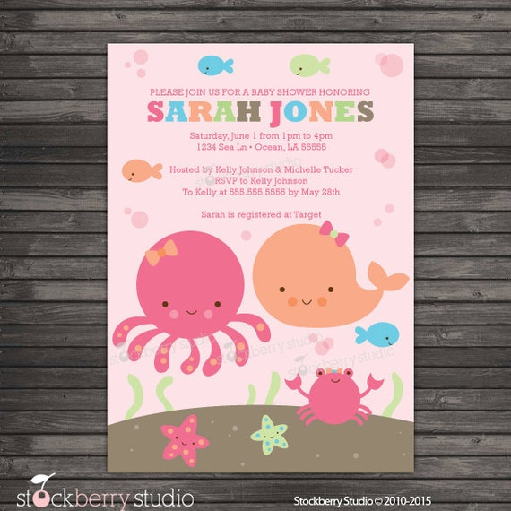 girl under the sea baby shower invitation printable ocean, Baby shower invitation