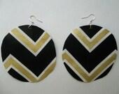 "Fabric dangle circle round Basketball wive Love and hip hop fashion elegant art earring black white metallic gold chevron zigzag abstract 3"""