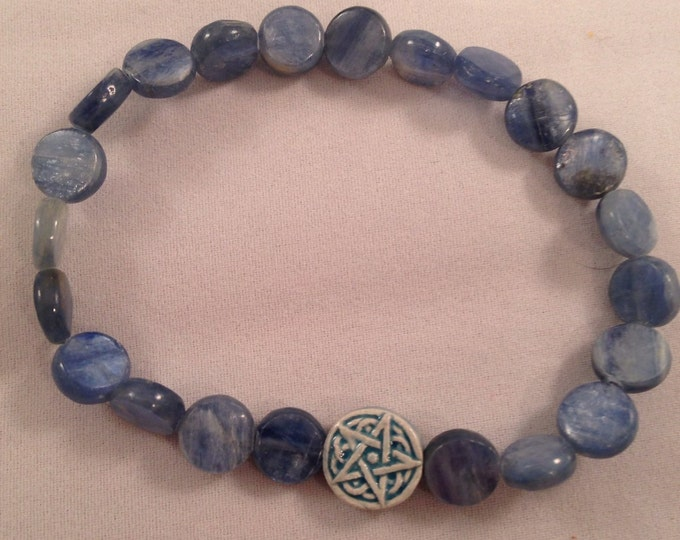 Blue Kyanite Celtic Star Bracelet - Raku Ceramic Pentacle Pentagram Bead & Coin shaped kyanite in a lovely stretch bracelet