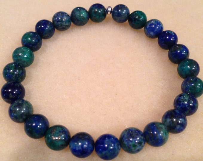 Azurite Malachite 8mm Round Bead Stretch Bracelet with Sterling Silver Accent