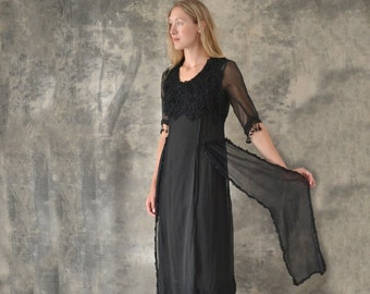 1910s Sheer Black Lace Dress size S