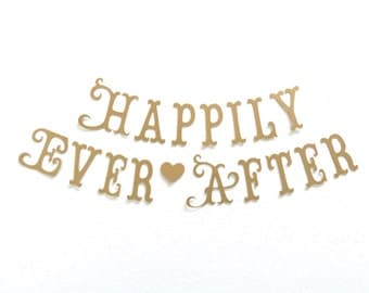 HAPPILY EVER AFTER Banner.  Ships Priority.  Bridal Shower.  Wedding Decorations.  Photo Prop.  Princess Party.  Tea Party.  5280 Bliss.