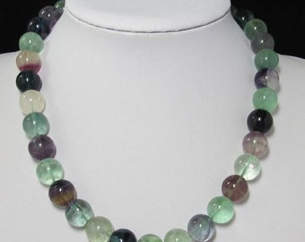 Necklace 19 inch IN Natural Fluorite 14mm and 925 Silver