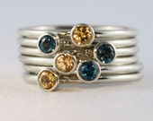 6 Gold Rings with 3mm gems, solid gold,  Set of 6 bands, 14K white  yellow gold, Mother's Family Ring Set, Custom Made