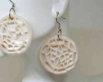 Organic Round Earrings - Ivory Dangles - Boho Earrings - Round Dangles