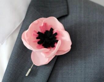 Anemone Fabric flower, grooms wedding boutonniere, lapel flower pin, anemone boutonniere