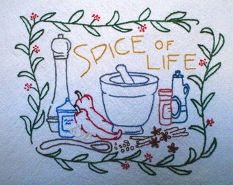 Spice of Life, Kitchen Towel, Hand Embroidered