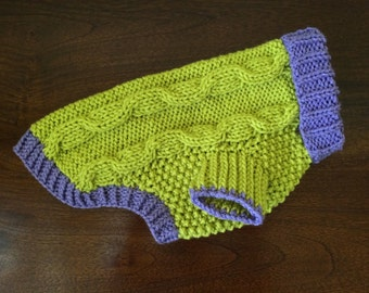 Dog Sweater - Apple Green & Lavender