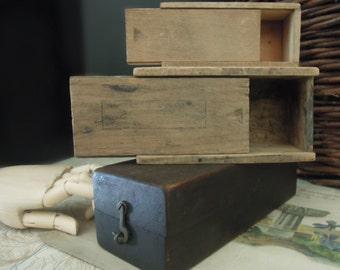Three Vintage Wood Boxes / Studio Storage / Trinket Boxes / Urban Industrial / Garage Chic / Mini Collection