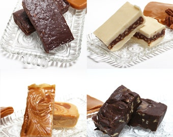 Caramel Quartet Fudge (Dulce de Leche, Chocolate Turtle, Chewy Praline and Dark Chocolate Salted Caramel) 2 pounds of fudge