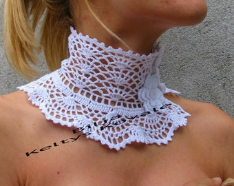 Crocheted white cotton Choker/Necklace