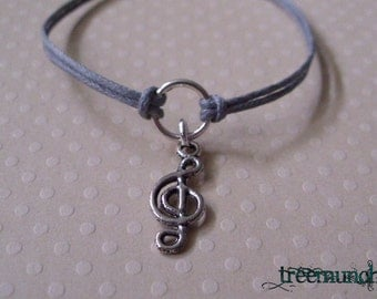 Treble Clef - Music - Circle of Life Bracelet or Anklet, made in USA by Treemunchkins