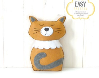 Cat Hand Sewing Pattern, Felt Stuffed Cat Plushie Pattern, Yellow and Gray Cat Softie Pattern, Instant Download