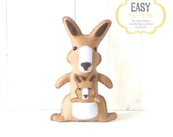 Kangaroo Stuffed Animal Sewing Pattern, Kangaroo Hand Sewing Pattern, Plush Kangaroo and Joey, Kangaroo Softie Stuffie