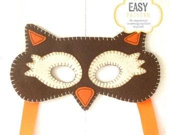 Felt Owl Mask Pattern, Owl Mask Sewing Pattern, Woodland Mask Pattern, DIY Owl Mask, Instant Download PDF