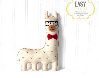 Llama Sewing Pattern, Hipster Llama Pattern, Felt Llama Plushie, Llama Softie, Llama Stuffed Animal, Stuffed Alpaca