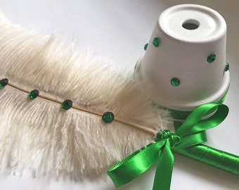 Emerald Ostrich Feather Pen with Rhinestones / Wedding Signing Pen / Guest Book Pen (Custom Colors Available)