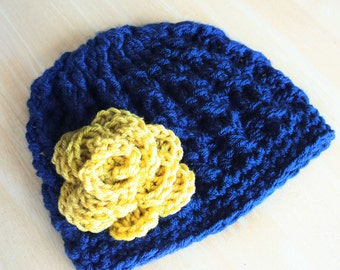 Crochet Cable Knit hat for toddlers and girls, navy blue and mustard yellow, soft cabled hat, Notre Dame hat, 12 month to 4T sizes