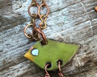Kiln fired GREEN Enamel itty bitty birdie Necklace
