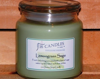 Lemongrass Sage Soy Candle ~ 16 Ounce Jar ~ Sweet and Fresh Aroma ~ 16 Candles by J.P. Lawrence