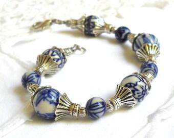 delft blue style bracelet delft blue style jewelry Delft blue bracelet blue and white delft bracelet blue and white bracelet