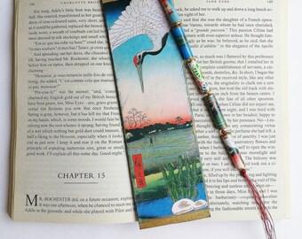 Unique Bookmark, Japanese Cranes Woodblock Design Bookmark with Tassel, Teacher Gift, Book Lovers
