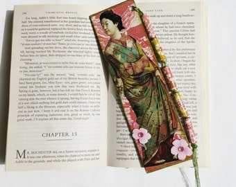 Bookmark Gift, Japanese Woman in Kimono Design Handmade Bookmark with Tassel, Reading, Book Lover