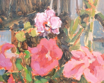 Still Life Oil Painting Flowers, Orchids & Petunias