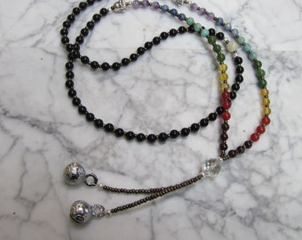 Black Mantra Mala - 108 Natural Full Spectrum Stone and Crystal Chakra Necklace with Silver Tibetan Bells and Buddha Markers