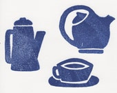Coffee and Tea Themed Rubber Stamp Destash for Card Making, Scrapbooking and More