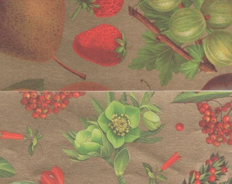 Rich Fruit and Botanicals on Gold 12x12 Art Papers for Gift Wrap, Card Making, Decor and More