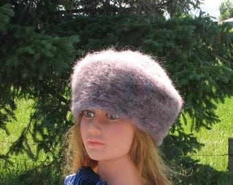 Purple Lilac Alpaca Knit Felt Furry Tam Beret Hat Crusher