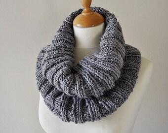 Grey Ribbed Cowl - Knitted Gray Cowl - Grey Alpaca Cowl - Handknit Wool Cowl