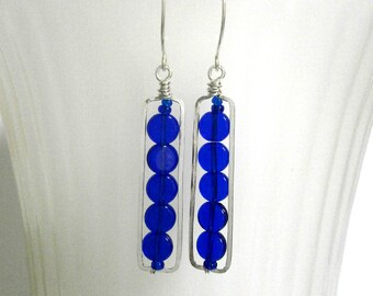 Silver Rectangle Bar Earrings Vintage Cobalt Blue Bead Earrings Wire Jewelry Geometric Sterling Silver Frame Earrings Silver Hoops Dangles
