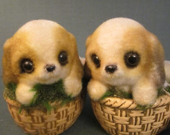 Flocked Puppies in a Basket - Pair of Josef Originals - Floppy Eared Twin Dogs