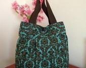 Tote Bag Diaper Bag Paisley Turquoise Brown Quilt Interior Shoulder Bag Preppy handbag Beach Bag Tote